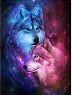 Wolf 5D Diamond Painting by Number Kit, Staron DIY Diamond Embroidery Painting Cross Stitch Kit 5D Diamond Crystal Rhinestone Embroidery Painting DIY Art Craft Canvas Wall Decor (Wolf Lover❤️)