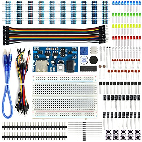 REXQualis Electronics Basic Kit w/Power Supply Module, Breadboard, Jumper Wire, LED,Resistor for Arduino, Raspberry Pi