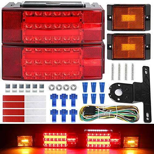 Brake + Turn Signal + Parking Partsam 2 Red Clearance ID Marker Brake Tail Light for 80 or Wider Trailers DOT Certified 2 Amber 15 11 LED Trailer ID Light Bar IP67 Submersible