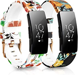 Koreda Compatible Fitbit Inspire/Inspire HR Bands Women Men, 2 Pack Soft Silicone Floral Print Band Bracelet Strap Replacement for Fitbit Inspire/Inspire HR Smartwatch
