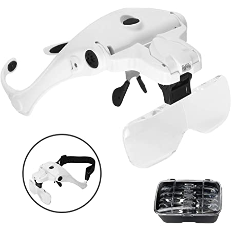 USB Charging Model Locisne Head Mount Magnifier with LED Light for Close Work Rechargeable Hands Free Magnifying Glasses