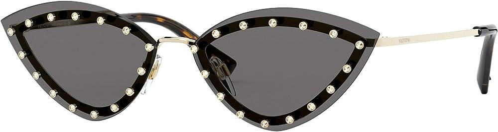 Valentino, occhiali da sole per donna, gold/grey, MONTATURA CON BORCHIE GLAMTECH VA 2033