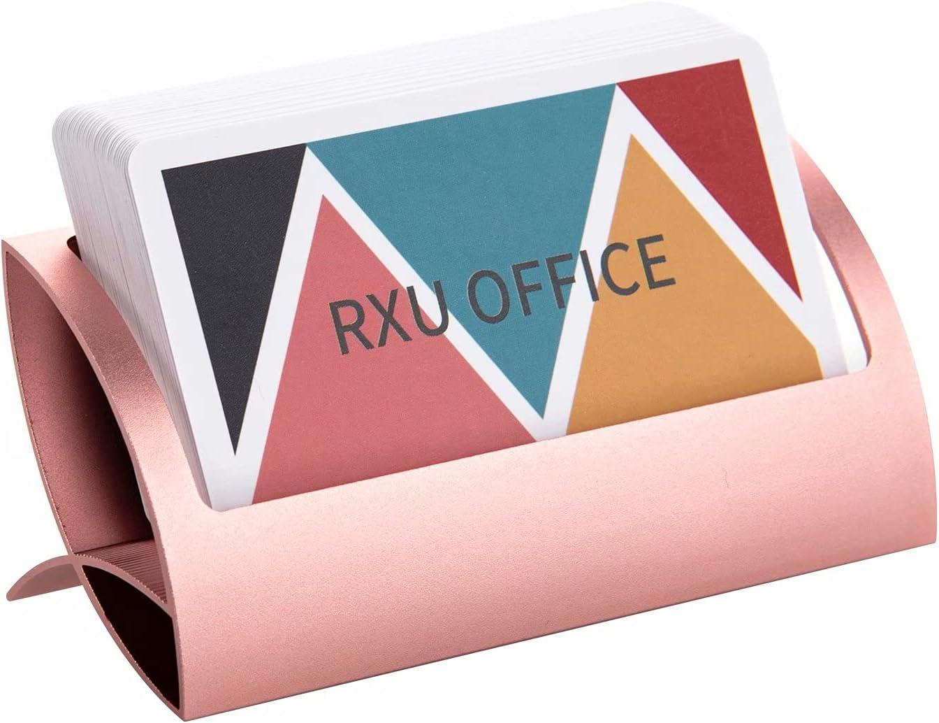 RXU Business Card Holder for Desk Metal Modern Desktop Aluminum Cute  Business Card Holder Display for Men and Women(Rose Gold)