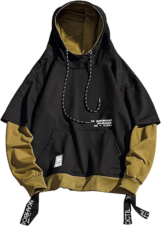 Men's Fashion Trends Hoodies Hipster Hip Hop Patchwork Sweater Sweatshirts Pullover Hoodie Tops Lightweight Loose