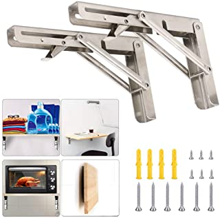 Folding Shelf Brackets 8 Inch with Install Screws, 2pcs Heavy Duty Stainless Steel 304 Collapsible Shelf Bracket Wall Mounted Triangle Brackets for DIY Table Work Bench, Max Load 300 lb