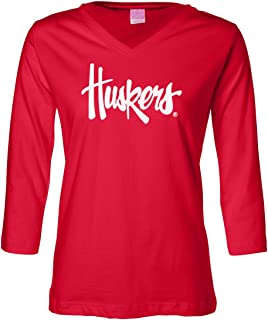 Women's Nebraska Cornhuskers Legacy Script Huskers 3/4 Sleeve V-Neck Top