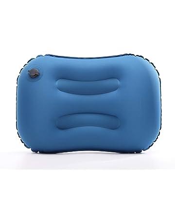 SovelyBoFan Almohada de Flocado Almohada Plegable portatil Inflable de Doble Cara para Acampar//Viajar//Oficina Azul