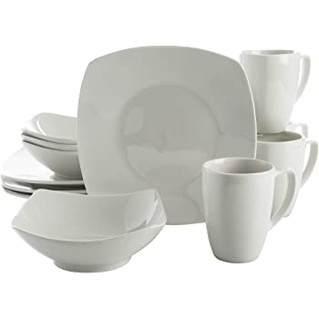 Gibson Zen Buffet Square Dinnerware Set, Service for 4 (12pcs), White