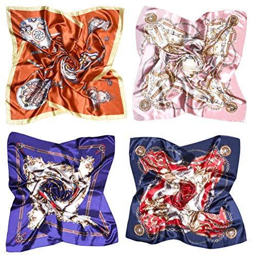VBIGER Halstuch Damen Groß 90 x 90 cm Satin Bandana Kopftuch Elegante Schal Bunte- Einheitsgröße, Farbe 4 (4 Stück)