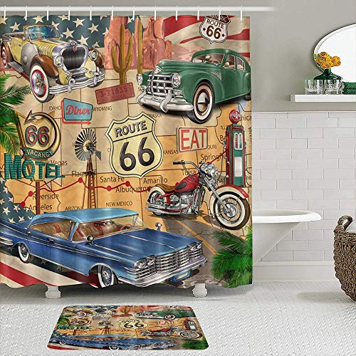 MTevocon Duschvorhang Sets mit rutschfesten Teppichen,Altes klassisches Auto-Thema American Vintage Route 66 Diner Motorrad Shabby Chic, Badematte + Duschvorhang mit 12 Haken