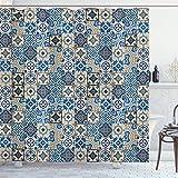 RTYRT 3D Bedruckter 180x200CM Marokkanische Duschvorhang Fliesen Muster mit portugiesischen traditionellen Azulejo Motiven Oriental Curls Badezimmer Gardinen Dekor Set