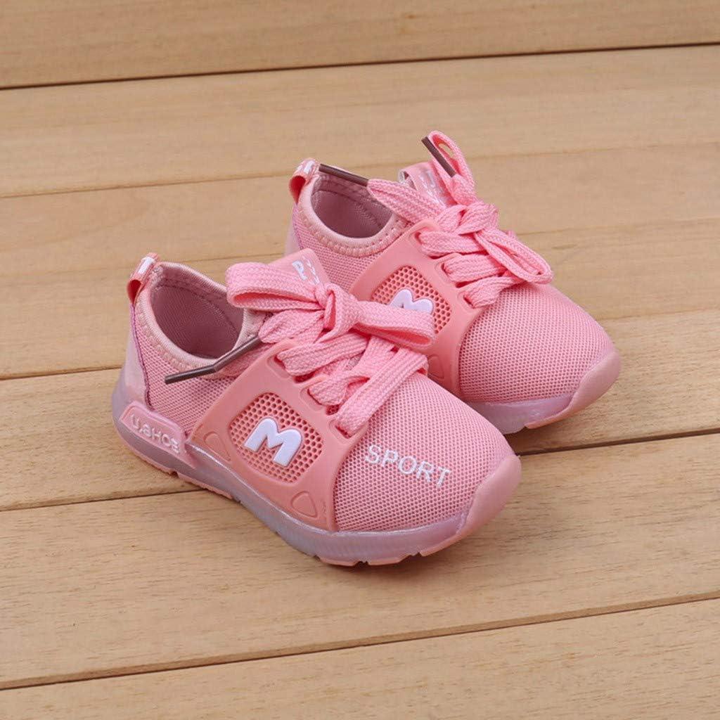❤️ Sunbona Toddler Baby Boys Girls Led Light Flat Sneaker Infant Kids Summer Letter Crystal Luminous Running Sport Shoes
