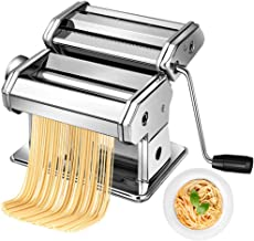 Pasta Maker Machine Hand Crank - Stainless Steel Roller Cutter Manual Noodle Makers  Making Tools Rolling Press Kit Kitche...
