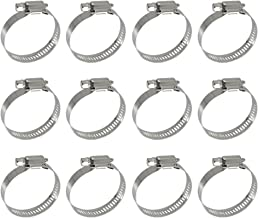 XRPAOWA Hose Clamp, 304 Stainless Steel Clamps, 12 pcs/Pack, SAE 24 Worm Gear Hose Clamps, 1-1/16-Inch-2-Inch(27-51mm)