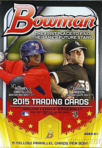 2015 Bowman MLB Baseball EXCLUSIVE Factory Sealed Hanger Box with 35 Cards including 5 SPECIAL YELLOW PARALLEL Cards ! Look for Rookie Cards and Autographs of all the Top MLB Draft Picks!