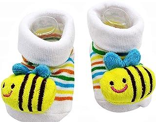 Lovelegis, Calcetines antideslizantes para niños - bebés - 0/12 meses - estampados - abeja - blanco - rayado - hombre - mujer - unisex - idea de regalo de cumpleaños