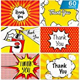 WoodLex By Leko Thank You Cards PopArt Design - Bulk Pack of 60 Thank You Cards With Envelopes and Stickers - Funny Thank You Cards perfect for Birthday, Baby shower, Engagement, Graduation, Wedding