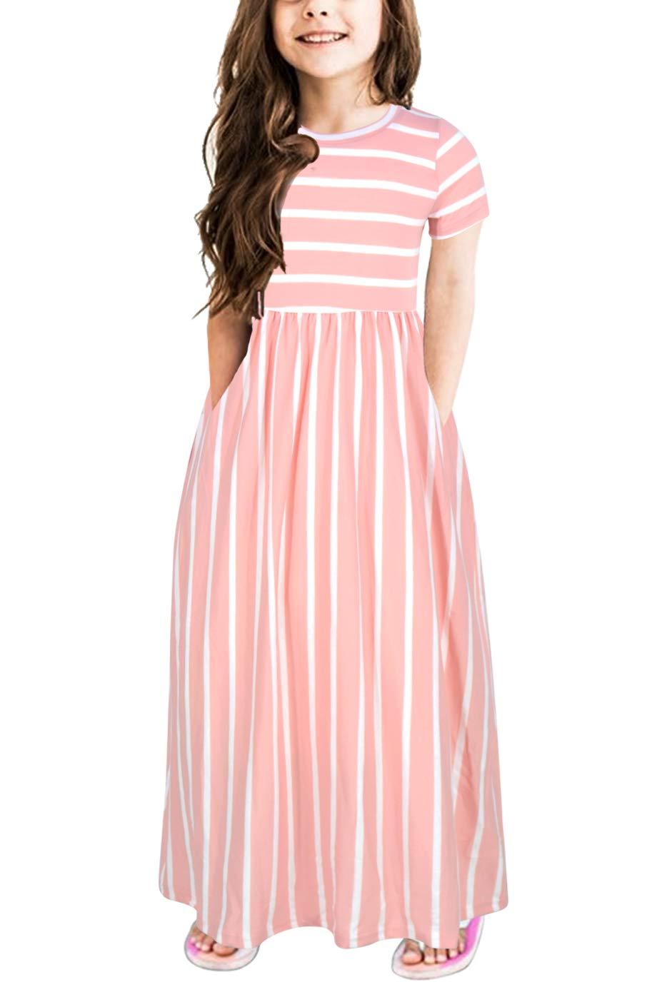 GORLYA Girls Short Sleeve Floral Print Loose Casual Holiday Long Maxi Dress with Pockets 4-12 Years