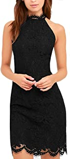 Zalalus Lace Dress Elegant High Neck Sheath Black Cocktail Dresses for Women Wedding Party US 4