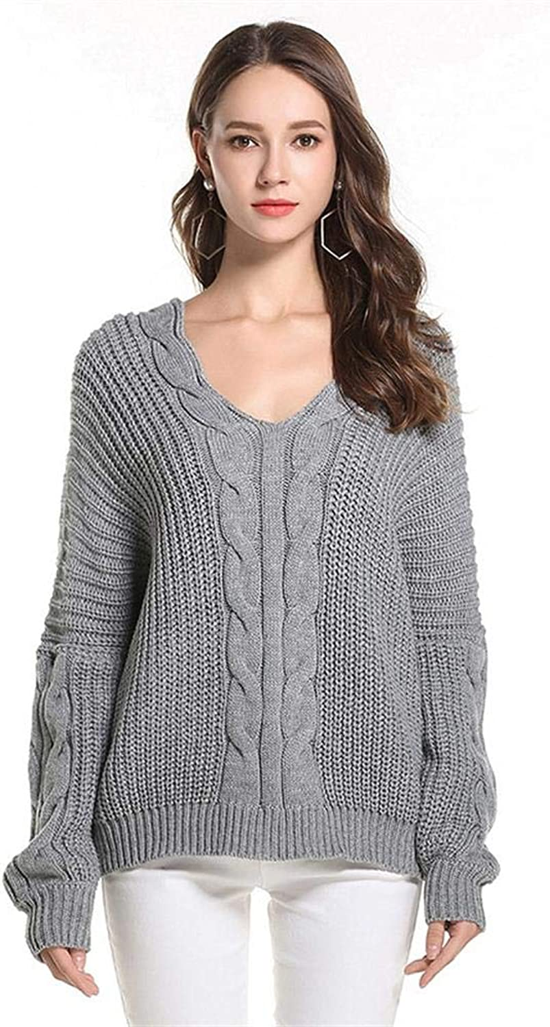 MAZF VNeck Fashion Twisted Knit Loose Sleeve Sweater one Size