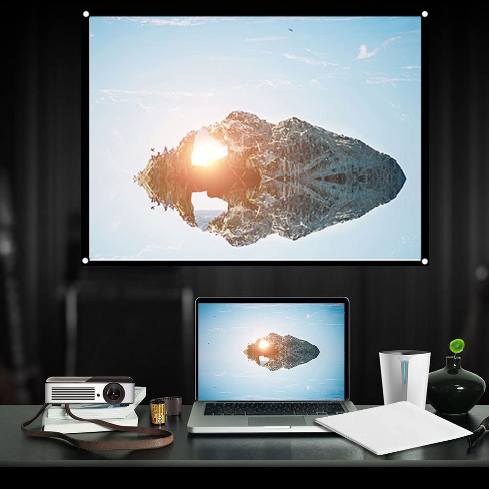 Portable Projector Screen, 60-100 inch White 4: 3 Foldable Diagonal Projection Screen, Home Theater Projector Screens(72in)