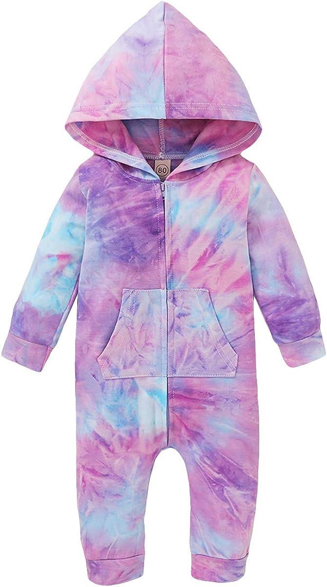 FJKR Infant Max 82% OFF Baby Girl Boy Tie Zipper 1 year warranty Clothes Romper Hoodie Dye B