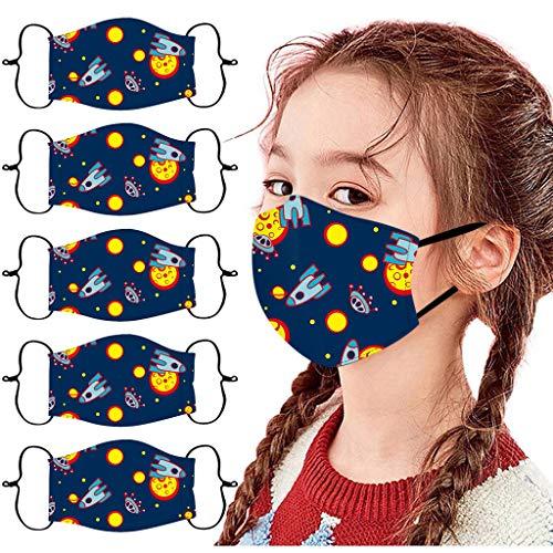 Honestyi 5 Stück Kinder-Mundschutz mit Motiv Einfarbig/Cartoon Druck, Gesichtsschutz Halstuch Für Jungen Mädchen Baumwolle Stoff Atmungsaktiv,Waschbar Wiederverwendbar