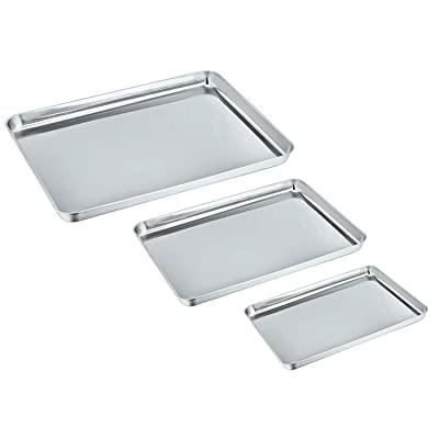 Baking Sheet Set of 3, PP CHEF Stainless Steel ...