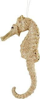 CFF Champagne Glitter Seahorse Coastal Christmas Tropical Sea Life Beach House Holiday Xmas Hanging Ornament Champagne