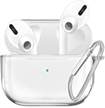 JuQBanke AirPods Pro Case, Clear Silicone Protective Cover with Keychain Compatible for Apple AirPods 3 Wireless Charging Case Headphones EarPods, Skin Anti-Water Shockproof Light Visible Front LED