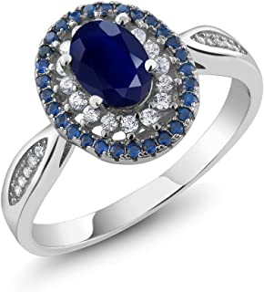 Gem Stone King Sterling Silver Blue Sapphire Women's Engagement Ring 1.62 cttw, Oval Cut 7X5MM Gemstone Birthstone (Available 5,6,7,8,9)