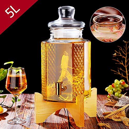 HyxqyJP Glazen kan met zegelring, 5 liter dranktoevoer met lekvrije spigot en houten standaard, voor limonade, thee, koud water