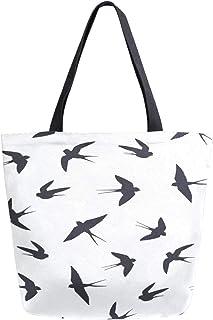 Reopx Black Bird Quiet Misterioso Portátil Portátil Doble Cara de Lona Casual Bolsas de Mano Bolso Hombro Bolsas de Compras Reutilizables Duffel Monedero Para Mujeres Hombres Supermercado Viajes