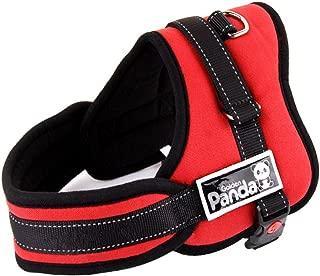 Kicat® 大型犬パンダ非プルソフトパッド入り犬ボディハーネスベストヘビーデューティビッグドッグアシスタンス XSからXLまでの5サイズ (S, 赤)