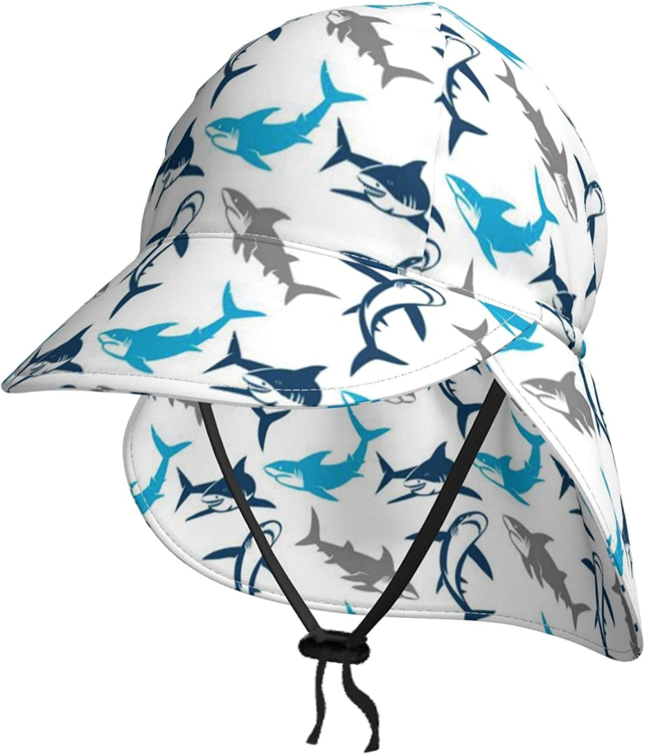 Cartoon Sharks in Colors Kids Sun Summer with Neck Special Campaign Max 85% OFF Hat Flap