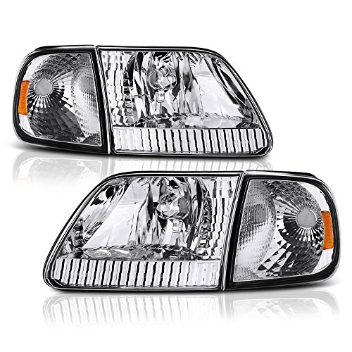 VIPMOTOZ Chrome Housing OE-Style Headlight & Turn Signal Side Marker Lamp Assembly For 1997-2003 Ford F-150 Pickup Truck & Expedition, Driver & Passenger Side