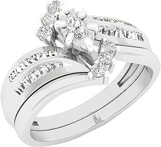Dazzlingrock Collection 0.35 Carat (ctw) 14K Gold Marquise, Baguette & Round Cut Diamond Engagement Ring Set 1/3 CT