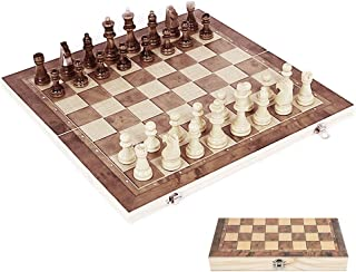 """Windyus 3 in 1 Wooden Chess Set and Checkers Set, 12"""" x 12"""" Folding Chess Board Game Sets, Portable Storage for Pieces for Adults Kids"""