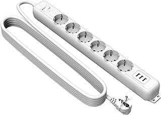Steckdosenleiste 6 Fach 3 USB, NTONPOWER Anschraubbar Mehrfachsteckdose Überspannungsschutz, 3 Meter Verlängerungskabel, EU stecker, weiß MEHRWEG