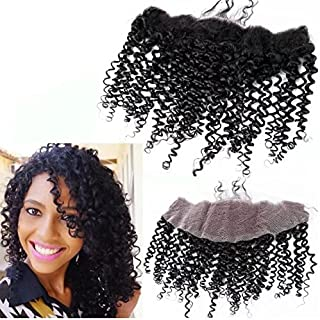 Unprocessed Peruvian Deep Kinky Curly Lace Closure 13x4 Virgin Human Hair 3/Three Part Cheap Swiss Lace Closures Bleached Knots 12