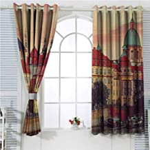 Wanderlust Decor Collection Rustic Curtains for Living Room Sunset Roof House Old City Autumn Prague Czech Republic Evening Sunlight Nature Boat Scene Living Room Decor Blackout Shades W107 x L84 Inc