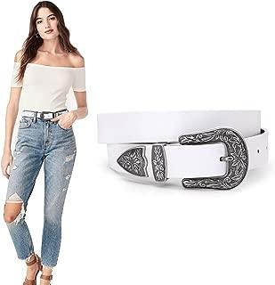 WERFORU Women Leather Belt for Jeans Pants Dress Ladies Belt with Western Buckle