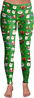 COCOLEGGINGS Womens Christmas Print Active Workout Stretch Footless Legging