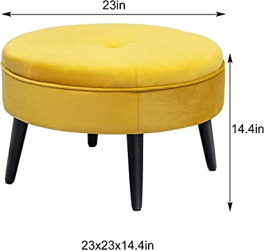 """Homebeez 23"""" Round Velvet Footrest Stool, Upholstered Ottoman Coffee Table, Button Tufted Padded Foot Stools with Solid W"""