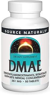 Source Naturals DMAE, Dimethylaminoethanol Bitartrate - Supports Mental Concentration - 50 Tablets