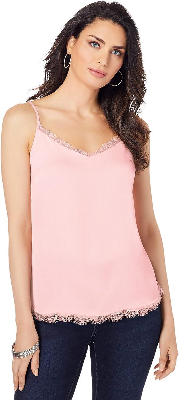 Roamans Women's Plus Size Lace-Trim Satin Cami Top