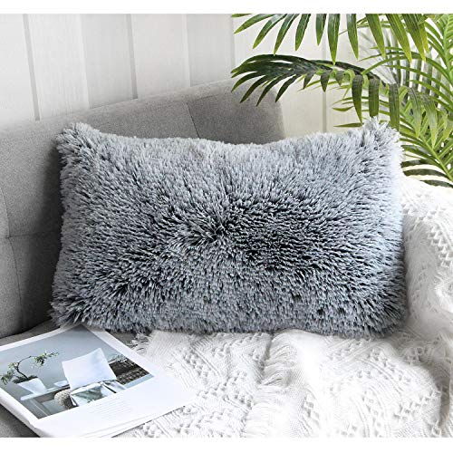 Uhomy Home Decorative Luxury Series Super Soft Style Artificial Rectangular Furry Pillow Case Cushion Cover for Sofa/Bedding/Car Black Ombre, 12x20 Inch 30x50 cm Single