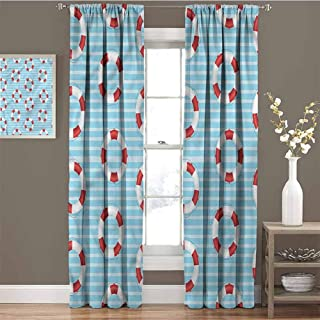 GUUVOR Buoy All Season Insulation Life Preserver Crisis Noise Reduction Curtain Panel Living Room W72 x L72 Inch