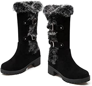 Womens Winter Thermal Snow Outdoor Round Toe Slip On Square Heel Fur Mid Calf Waterproof Boots