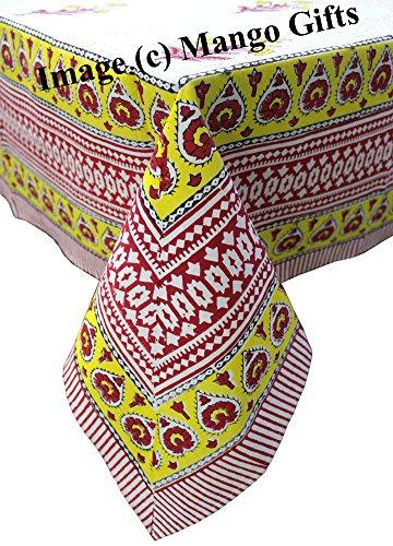 Mango-Gifts Indien Nappe Housse 100% Coton Floral Main Bloc Imprimé 150 * 220 cm